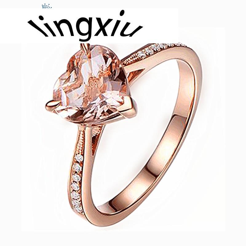 Circonia cúbica corazón cristal boda Champagne CZ anillos dedo ovalado joyería para...