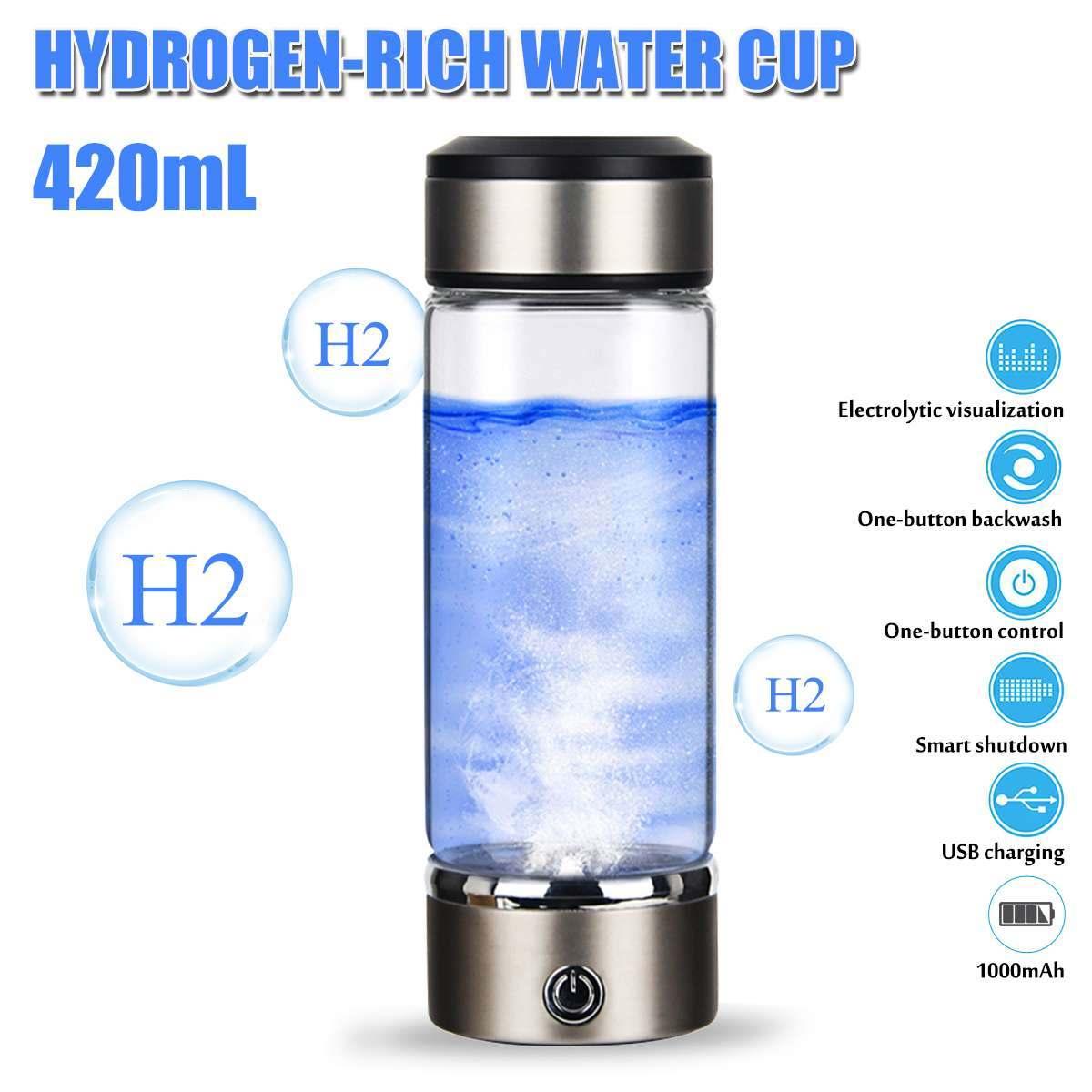 كوب مولد ماء 420 مللي ، مؤين ماء ، زجاجة تيتانيوم قلوية يابانية ، محلل كهربائي ، مضاد للأكسدة
