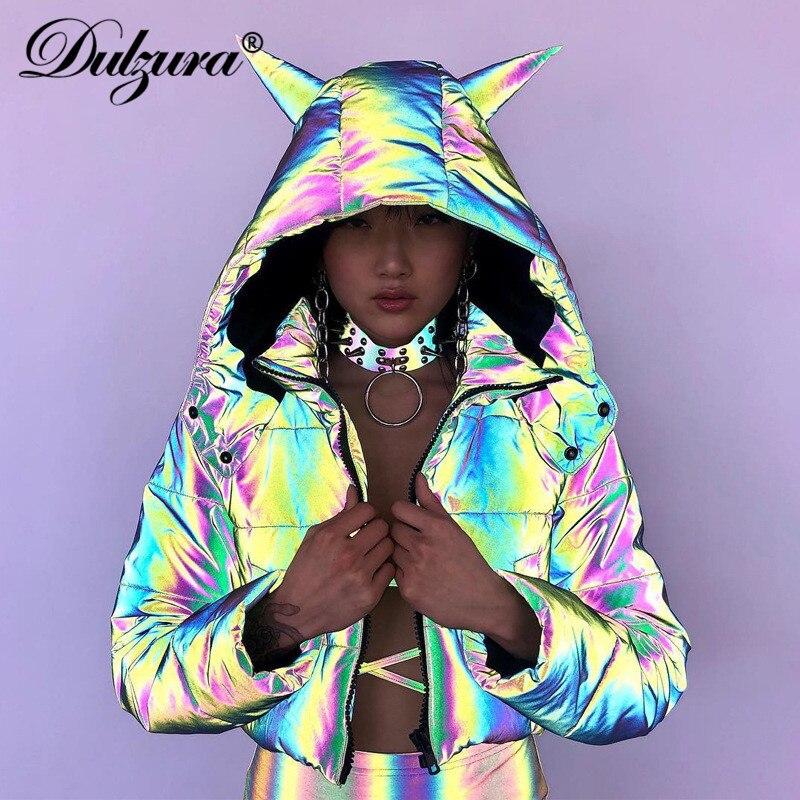 Dulzura, abrigo cálido con capucha reflectante de arco iris 2020, chaqueta acolchada de algodón para mujer, bonitas prendas de vestir de fiesta con orejas de Diablo, top corto casual