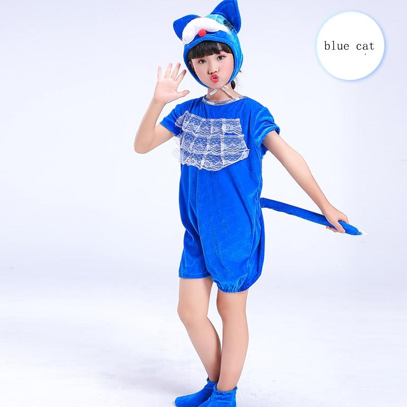 Blue Cat Children Animals Cosplay Costumes Kids Kindergarten Role Play Jumpsuit Halloween Christmas Party School Performance