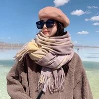 women scarf grid long scarf female edition tide fashion thick warm winter long shawl knitted collar
