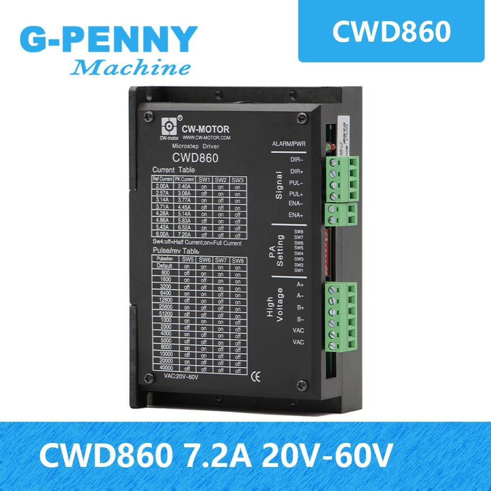 ¡Nueva llegada! CNC controlador de Motor NEMA23 NEMA34 2-Fase de micro-motor de pasos controlador de Motor 0-7.2A 24-90VDC CWD860 bajo n