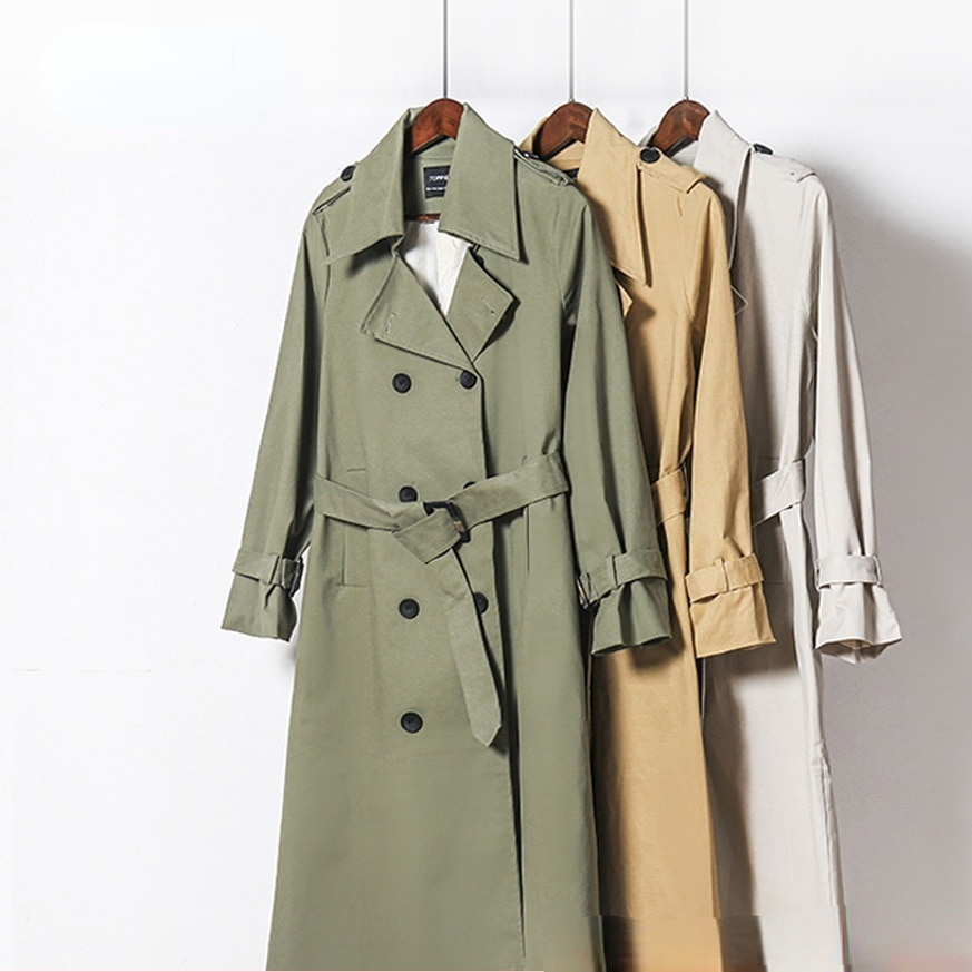 2021    Spring Long Trench Coat Women Double Breasted Slim Trench Coat Female Outwear Fashion Windbreaker korean coats women chic women s trench coat spring autumn belted short coat fashion slim fit double breasted short trench coat g092