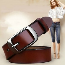 Women's genuine leather fashion retro belt high quality luxury brand ladies metal double buckle new