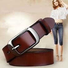 Women's genuine leather fashion retro belt high quality luxury brand ladies metal double buckle new