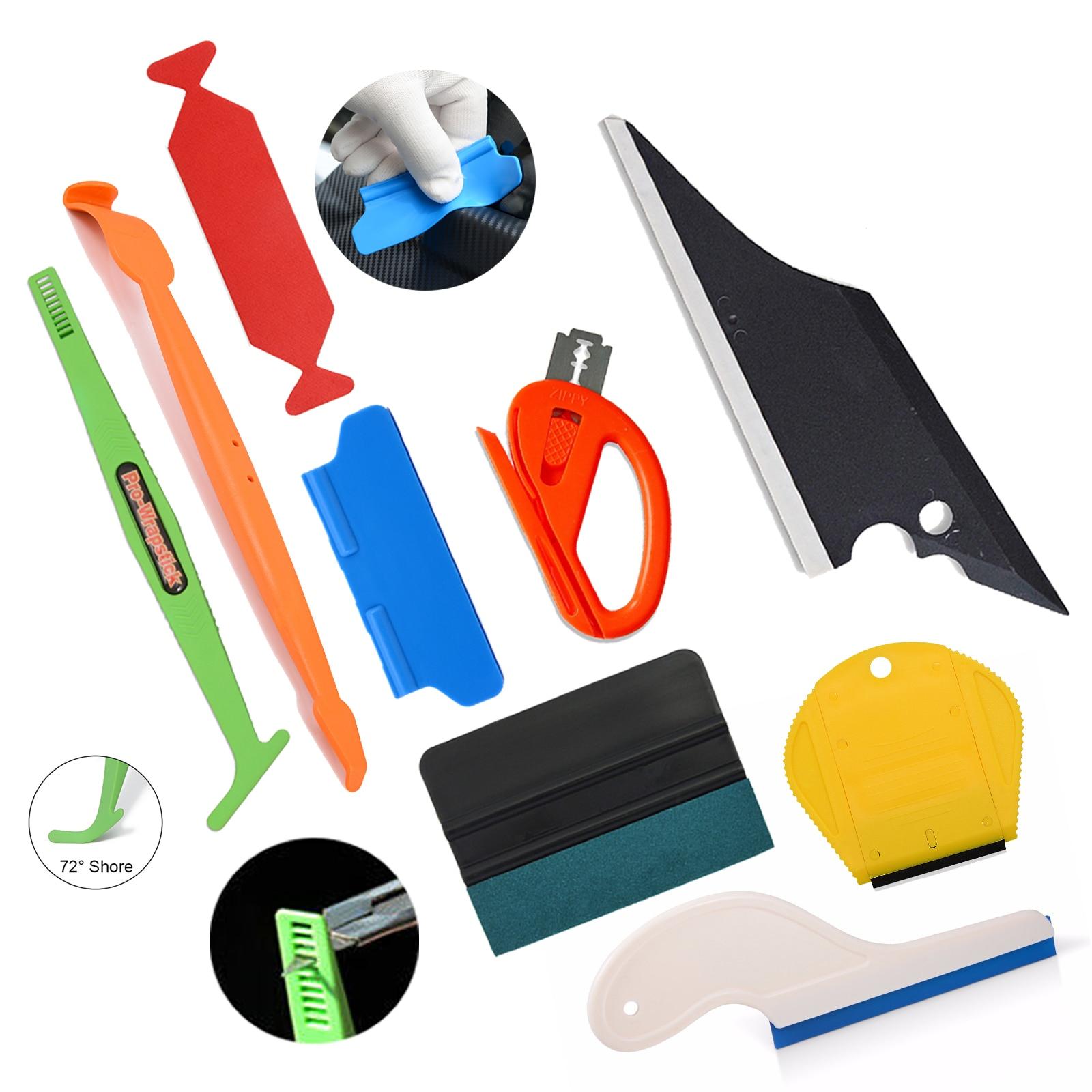EHDIS, rascador de película de fibra de carbono, escurridor magnético, envoltura de vinilo, cortador, cuchilla, Estilismo, herramienta, Kit de tinte de Ventanilla, juego de accesorios para coche