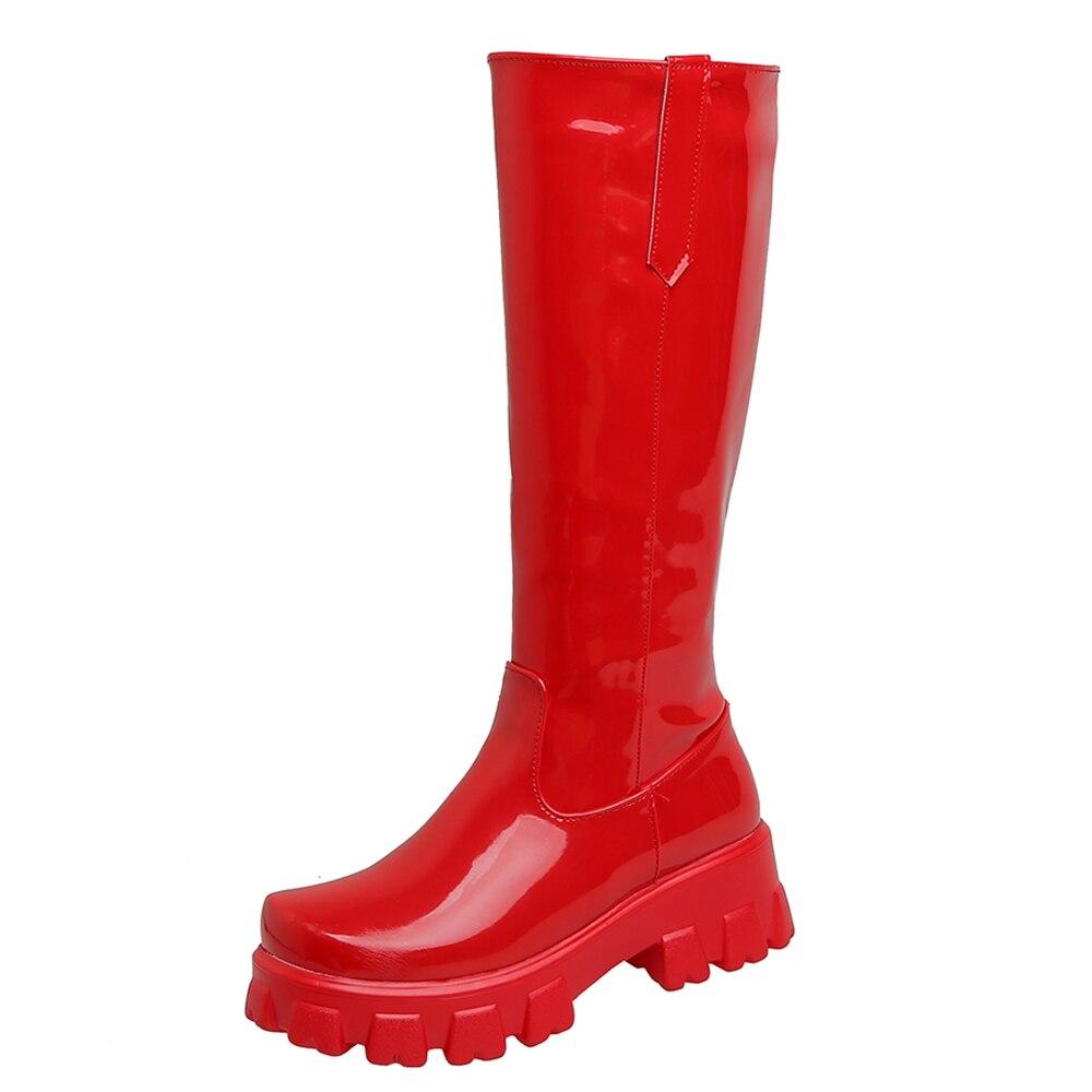 مشرق الجلود عالية منصة مقاومة للماء الداخلية زيادة جولة تو فوق الركبة طول الأحذية براءات الاختراع والجلود منصة كعب مسطح