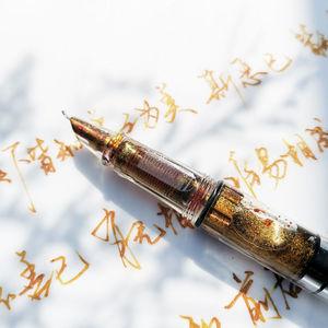 Art-tip fountain pen gold powder color ink transparent fountain pen barrel filling ink large-capacity transparent shaft