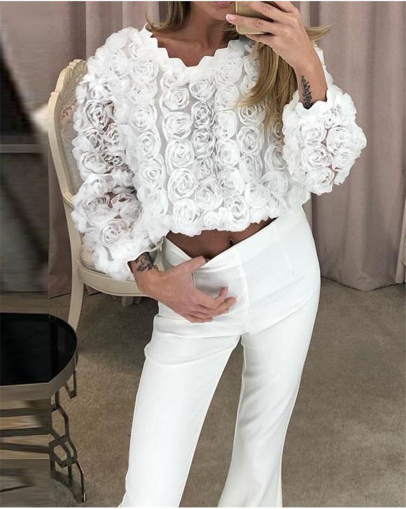 Mulheres blusas e topos casuais rendas flor branco o pescoço camisa blusa de manga comprida blusas mujer de moda 2019