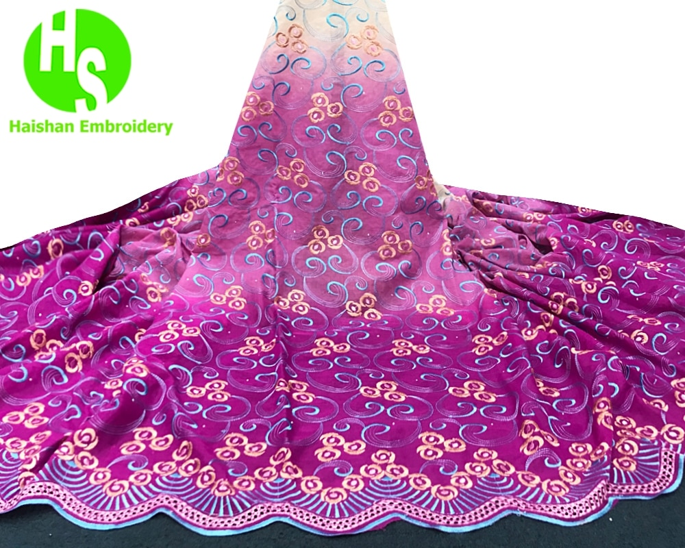 Brocade Lace Fabric 2019 High Quality Nigeria Lace Materials African Fabric New Arrival Cotton Swiss Lace with Stones for Party