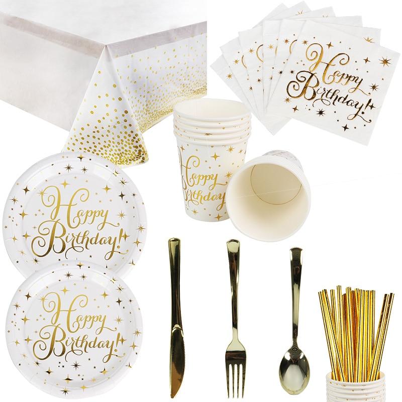 Platos y vasos de papel desechables WEIGAO Gold Star, pajitas y servilletas, juegos de vajilla para adultos y niños, suministros de fiesta de cumpleaños, tema dorado
