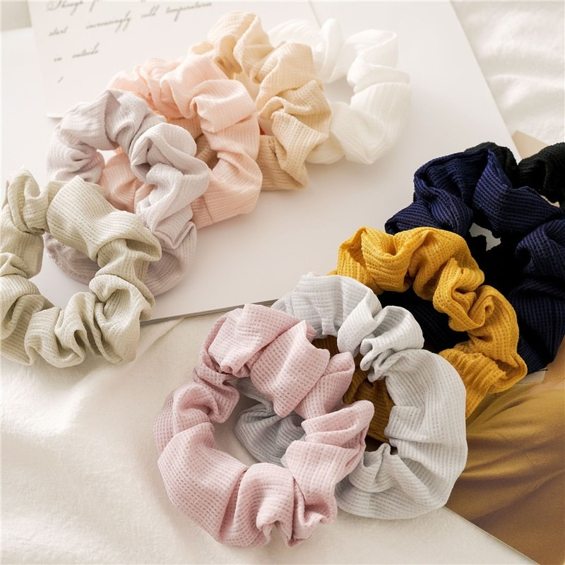 Moda cor sólida scrunchie toothpick rugas elásticas faixas de cabelo feminino cabelo scrunchie rabo de cavalo anel headwer acessórios