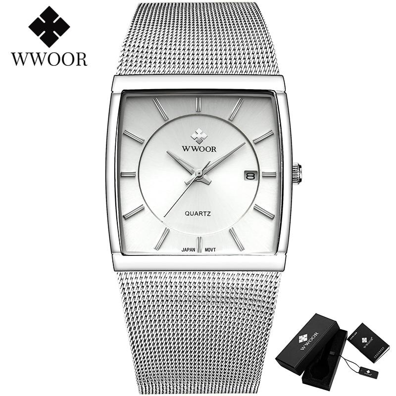 Reloj hombre wwoor masculino relógios quadrados fino branco relógio masculino aço malha à prova dwaterproof água data de negócios quartzo relógio de pulso presente masculino xfcs