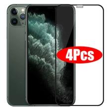 Protector de pantalla de cristal para iPhone, cubierta completa de vidrio para iPhone 11 13 12 Pro Max, X XS Max XR 12 13 Mini, 4 Uds.