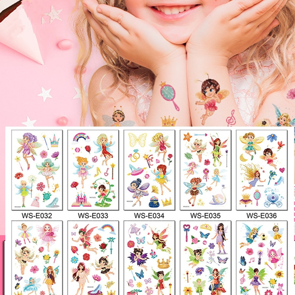 Фото - 10 Kinds Glitter Powder Fairy Tattoos Butterfly Rainbow Castle Flowers Temporary Body Stickers Disposable Children Party Makeup 10 kinds glitter powder tattoos children cartoon cars dinosaurs unicorns mermaid animal robot temporary body stickers disposable