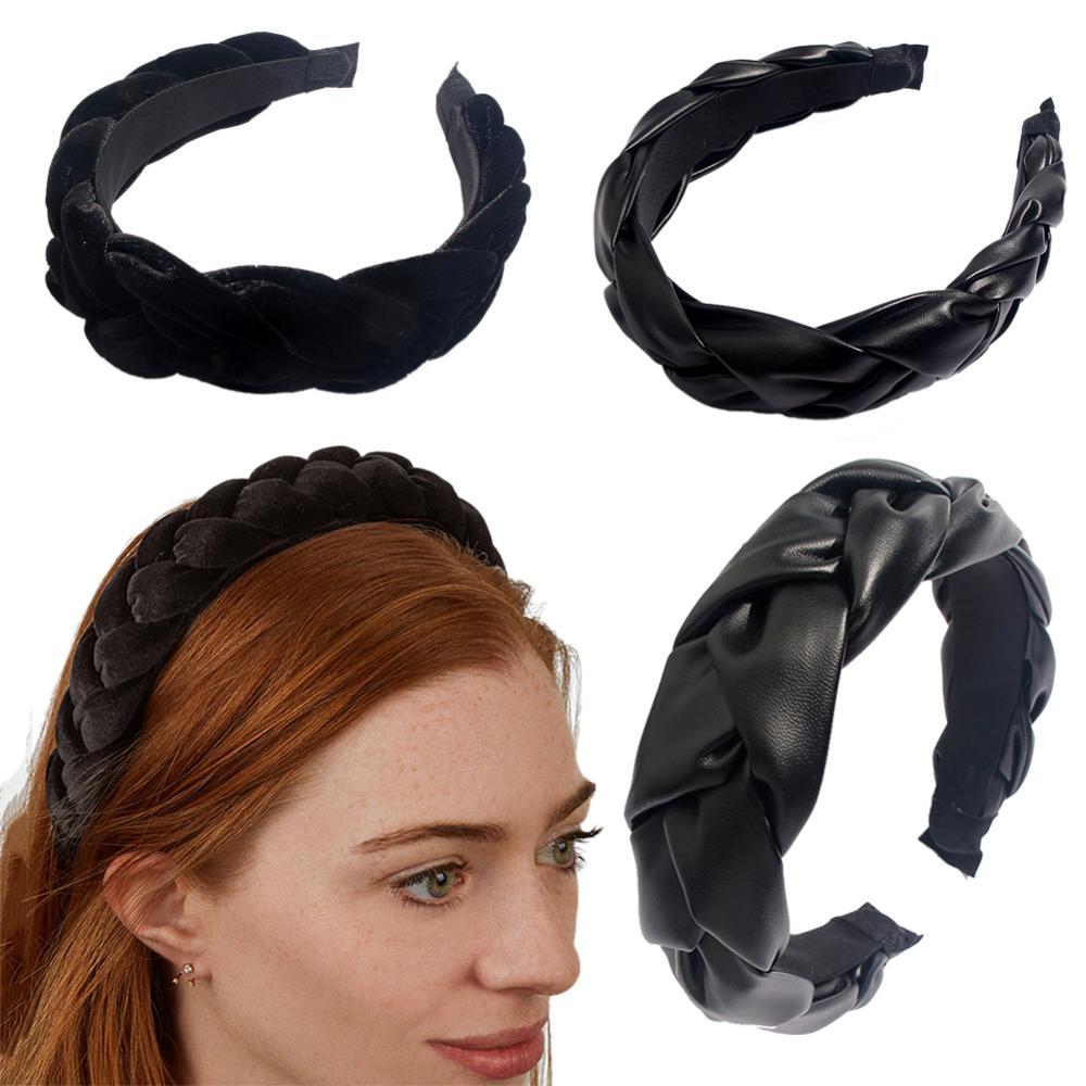 JUST FEEL Winter accesorios para el cabello de cuero amplia Boutique tejido bandas para el cabello trenzadas bandas para el pelo aro de pelo bandas para el tocado del bisel