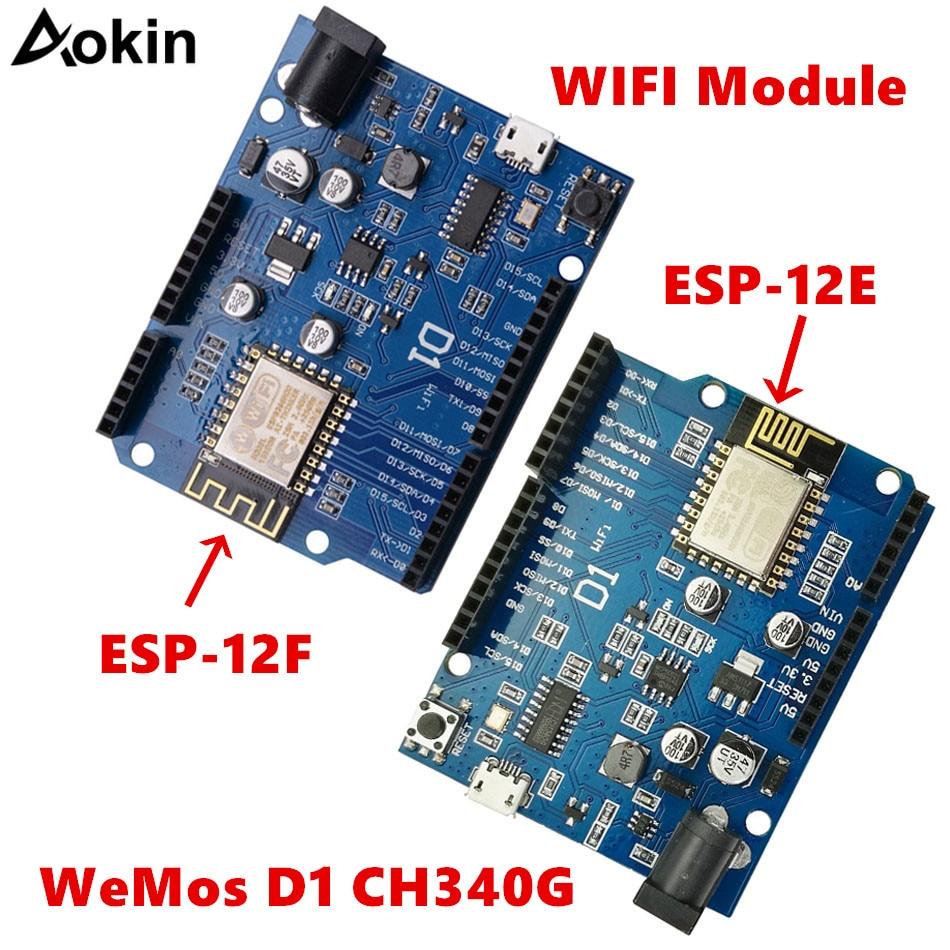 D1 CH340 CH340G Placa de desarrollo WiFi ESP8266 ESP-12 ESP-12F ESP12E ESP12F módulo para Arduino IDE UNO R3 Micro USB UNO