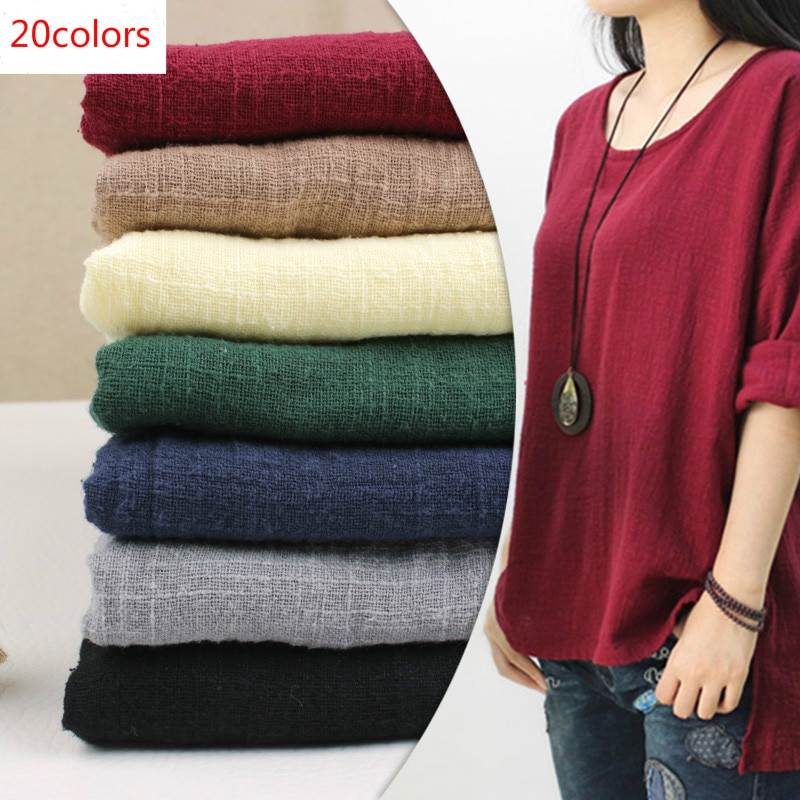 130x50cm tela suave Lino algodón Material orgánico puro Lino Natural Cambric Eco DIY ropa Patchwork tela