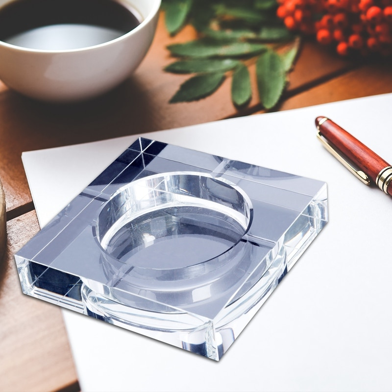 Cenicero de cristal cuadrado portátil, moderno, para decoración artística de hogar/oficina, transparente.