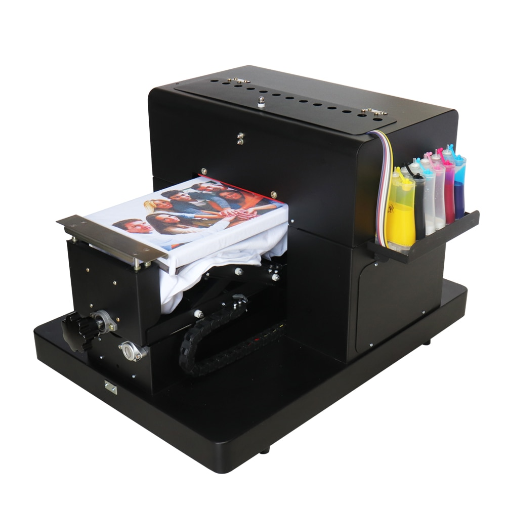 A4 تي شيرت صغير آلة طباعة الملابس النسيج الرقمي DTG