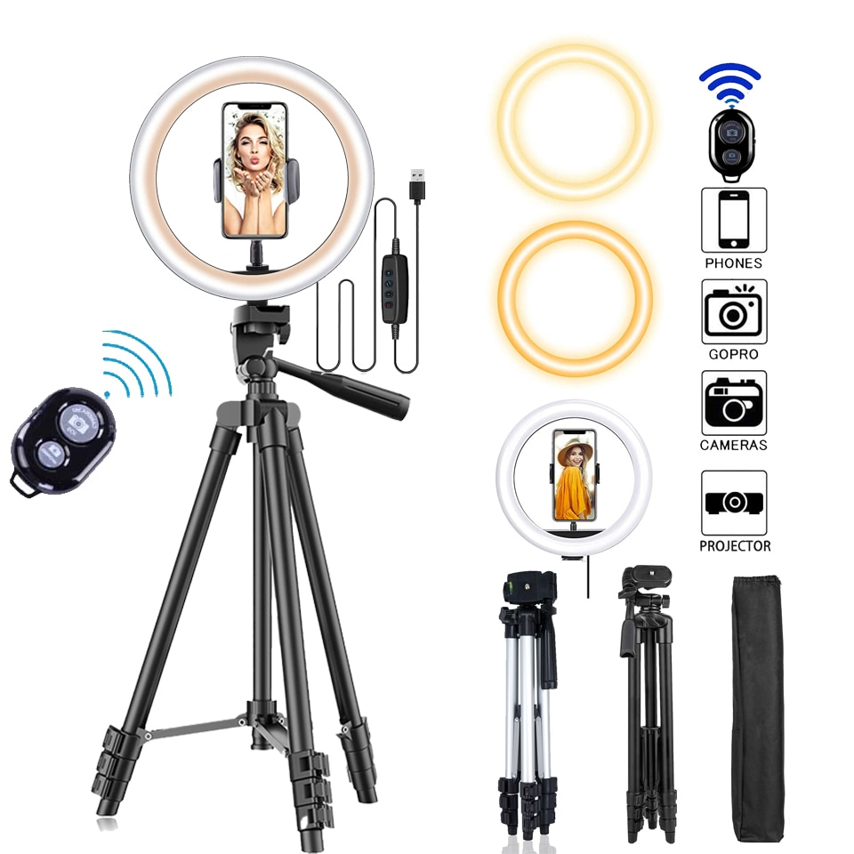 new 10inch portable selfie ringlight adjustable tripod remote photography lighting phone photo led ring fill light lamp youtube 26cm Photo Ringlight Led Selfie Ring Light Phone Bluetooth Remote Lamp Photography Lighting Tripod Holder Youtube Video