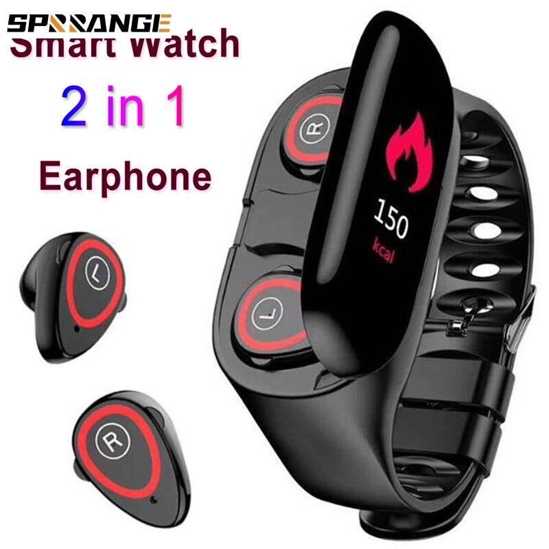 Reloj inteligente deportivo 2 en 1, con control del ritmo cardíaco y de la presión sanguínea, y Bluetooth, pulsera inteligente