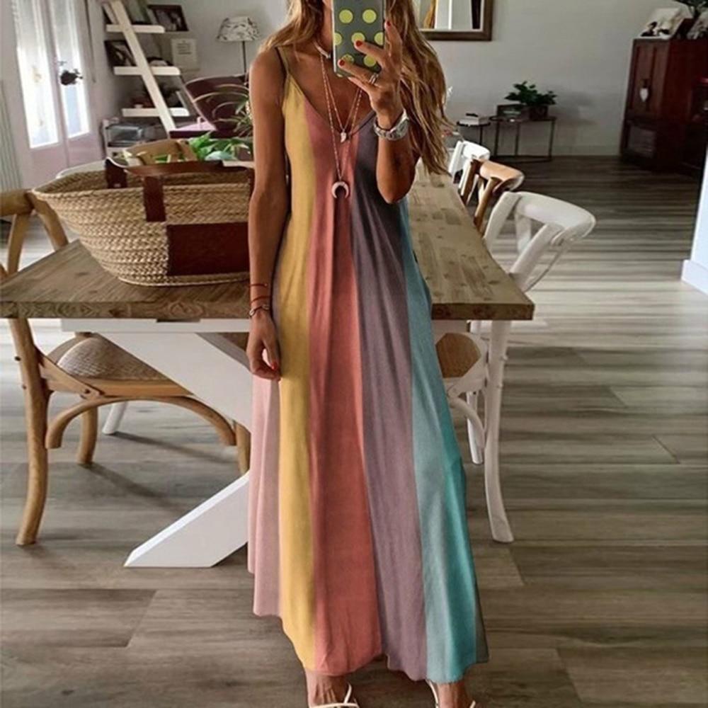 Summer Fashion V Neck Tie-dye Dress Women Sexy Pritnted Long Slip Dress Casual Sleeveless Loose Hoilday Beach Dress D30