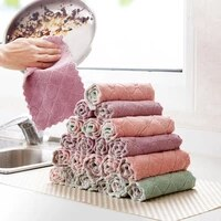 8pcs microfiber kitchen towel soft absorbent dish towel non stick oil washing kitchen rag tableware household cleaning cloth