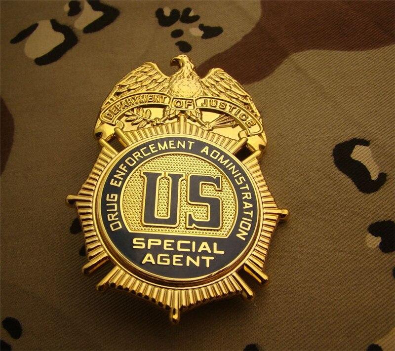 جديد وصول الولايات المتحدة الأمريكية إدارة إنفاذ المخدرات تأثيري شارة عدة قميص شارة تثبّت في طية السترة النحاس بروش شارة بدبوس 1:1 هدية