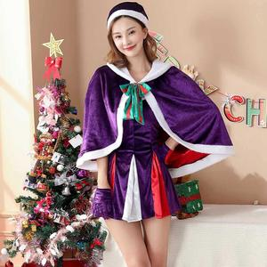 Purple Velvet Christmas Sexy Women Dress Xmas Santa Claus Fancy Dresses Cosplay Costumes Halloween Clothing Carnival Game Outfit