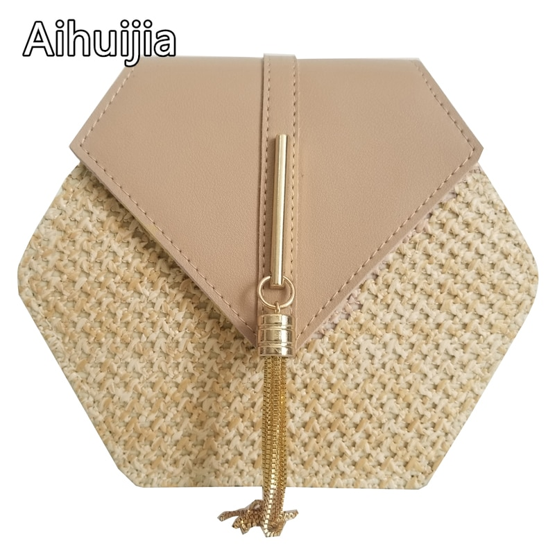 2020 Hexagon Mulit Style Straw+leather Handbag Women Summer Rattan Bag Handmade Woven Beach Circle Bohemia Shoulder Bag