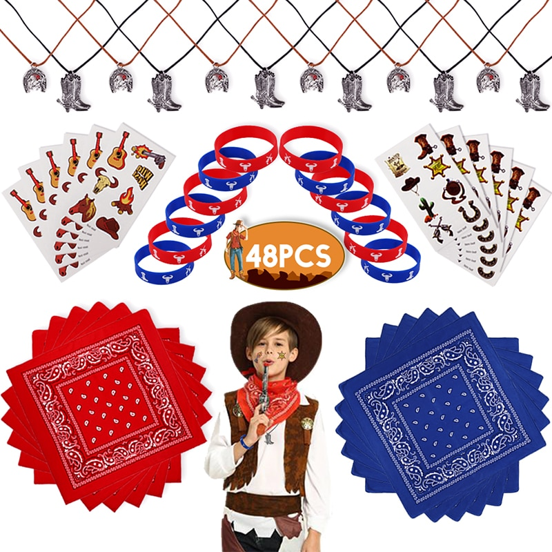 مجموعة هدايا رعاة البقر لأعياد الميلاد للأطفال ، 48 قطعة ، على طراز رعاة البقر ، هدايا الحفلات ، ملصق ، قلادة ، سوار