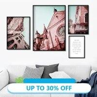 Affiches de peinture en toile rose  tableau dart mural de paysage de ciel de batiment deglise pour decoration de salon  decoration de maison