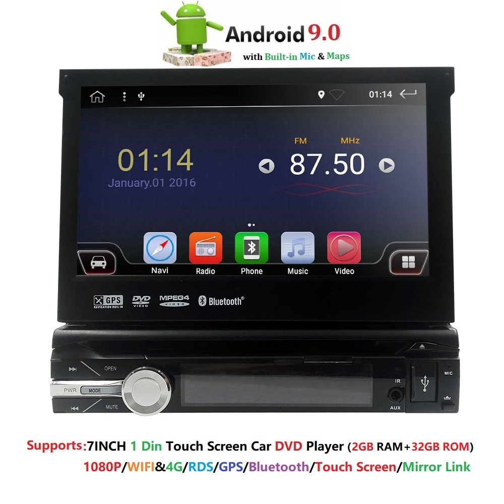 "Solo 1 Din 7 ""quad core Universal Android 9,0 2GB RAM coche Radio Estéreo navegación GPS WiFi 1024*600 pantalla táctil 1din de la PC del coche"