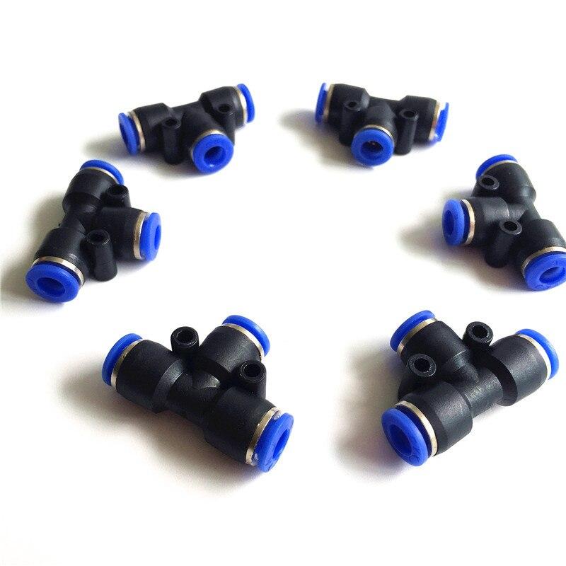 S016 azul neumático conector 6mm * 6mm * 6mm 100 unids/bolsa de bloqueo racor neumático, conector rápido para sistema de nebulización