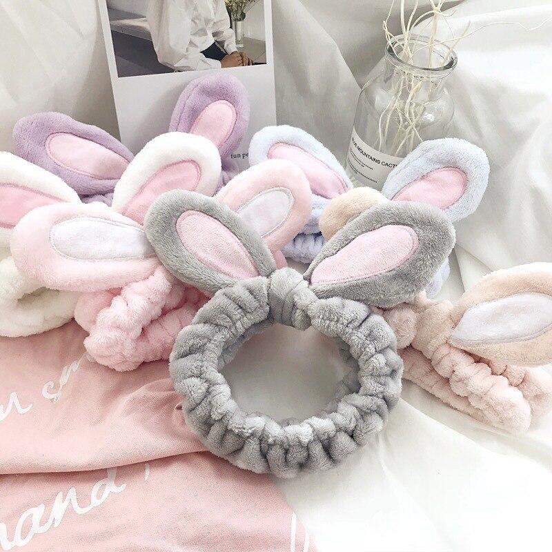 Fashion Women Girls Rabbit Ears Hairband Braiders Elastic Headdress Hair Accessories Cotton Makeup T