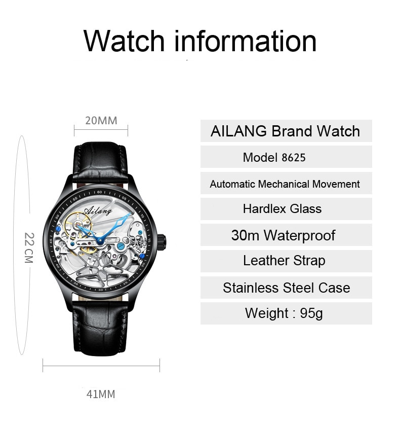 Genuine AILANG Men's Sports Watch Hollow Machinery Top Brand Men's Leather Watch Trend Luminous Waterproof 2020 New enlarge