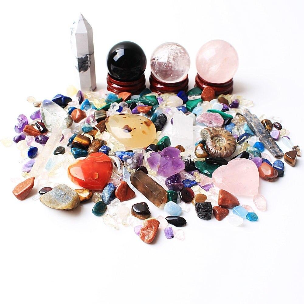 Um monte de quartzo natural misturado cristal obelisco & bola & cascalho mineral espécimes cura gemas