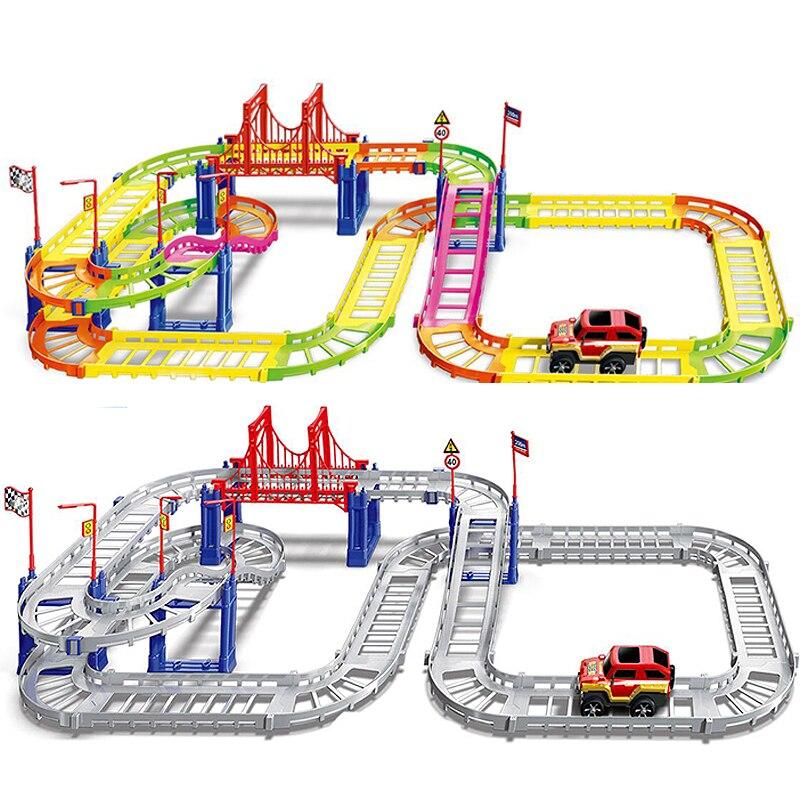 Рельсовые игрушки «сделай сам», аксессуары для гоночных треков, железнодорожный гоночный трек, игровой набор, развивающие игрушки для дете...