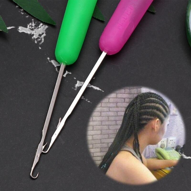 Extensión de pelo aguja ganchillo gancho trenza lazo tejido tejer tirar utensilios para peluca