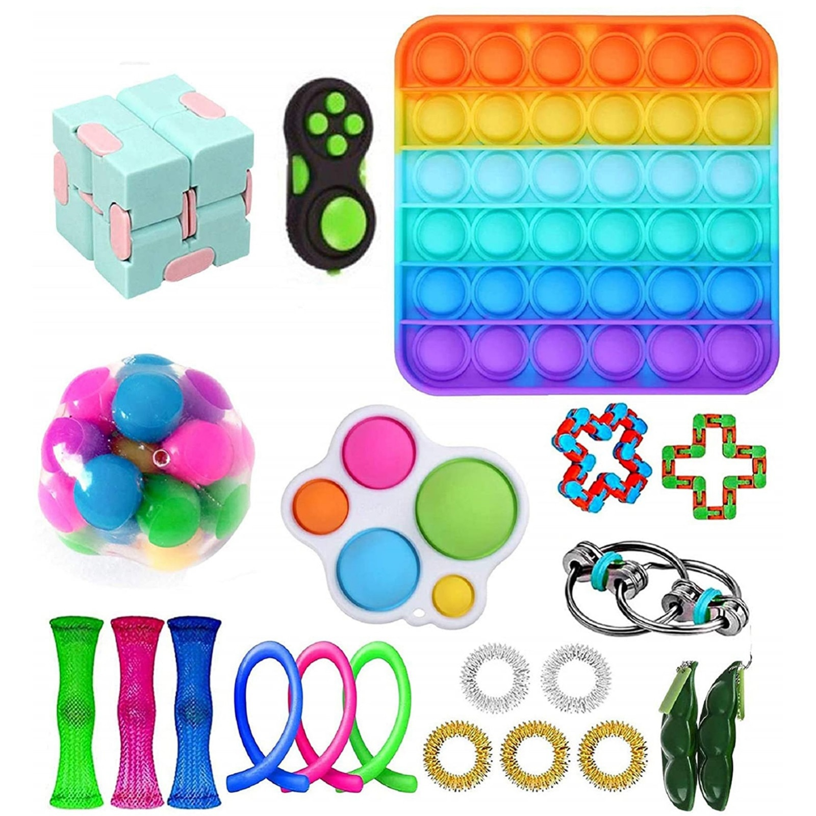 Rainbow Among Pops It Fidget Sensory Toy Pack Set Stress Sensory Toy Set Push Bubble For Children Adults Children's Day Gift enlarge
