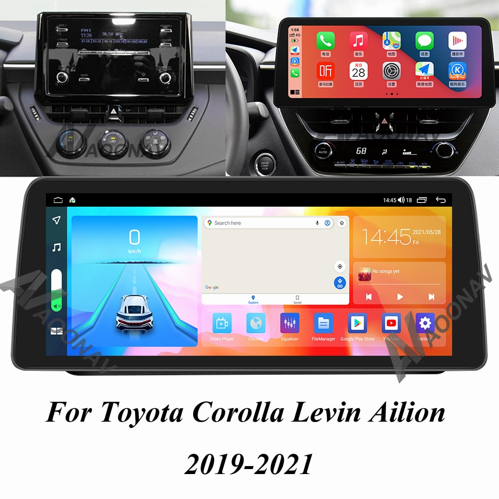 128 GB أندرويد 10.0 راديو السيارة لتحديد المواقع لتويوتا كورولا ليفين Ailion 2019 2020 2021 سيارة مشغل وسائط متعددة الملاحة شاشة ستيريو