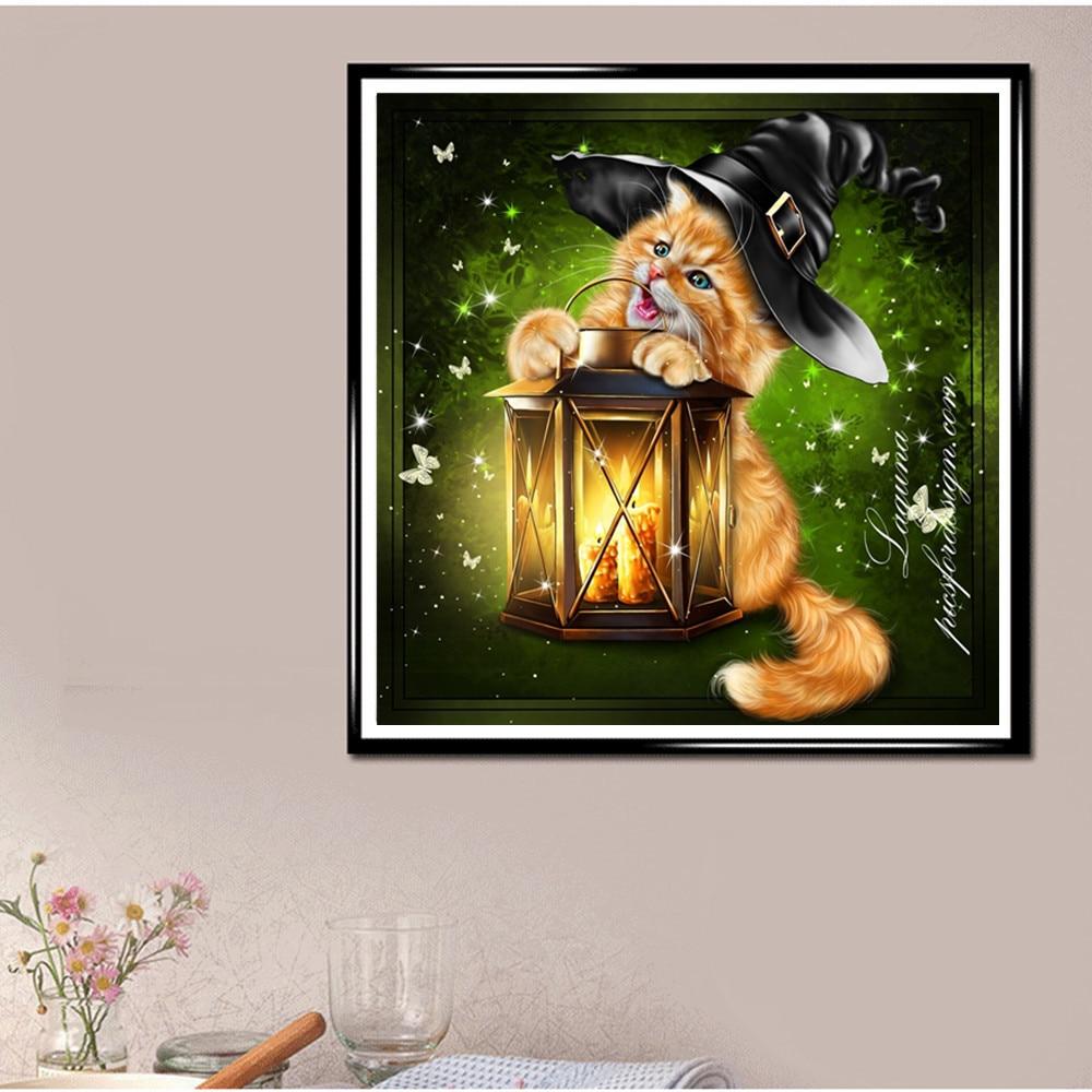 "Cuadrado completo/redondo taladro 5D DIY diamante pintura ""Halloween Gato"" 3D bordado punto de cruz 5D Rhinestone hogar decoración"