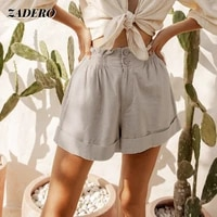 ladies loose shorts 2021 summer cotton linen leisure sports elastic waist retro high waist curled pants women fashion casual