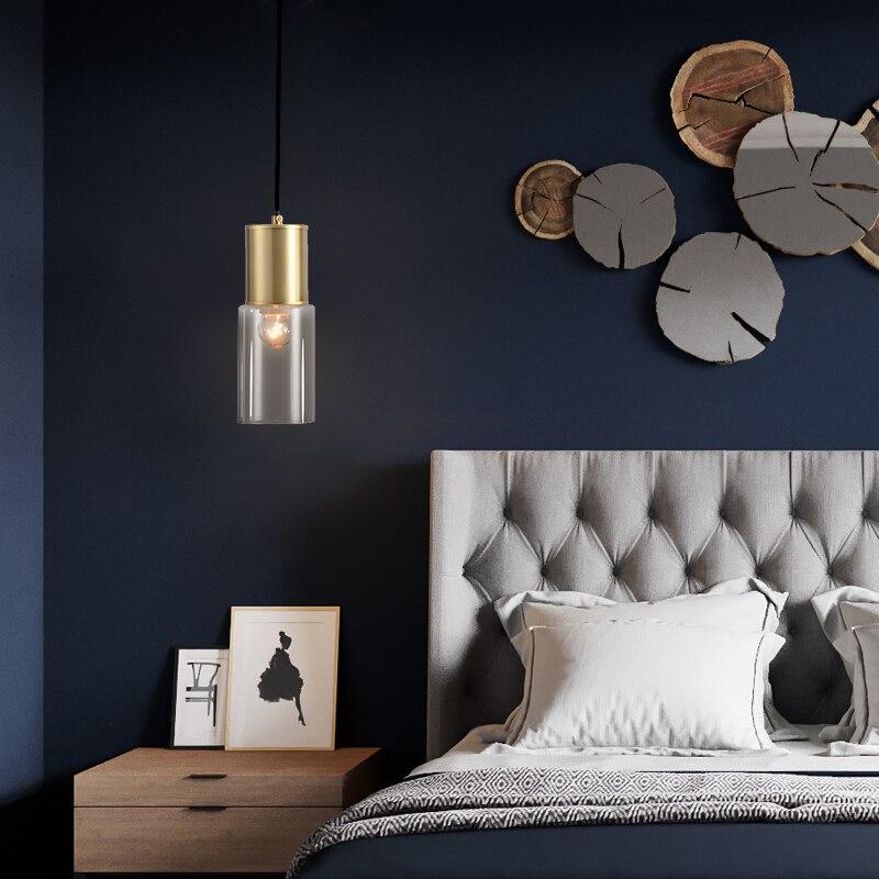 Moderno led luz pingente de cabeceira ouro cobre vidro pendurado lâmpada para sala estar jantar cozinha café decoração para casa luminárias