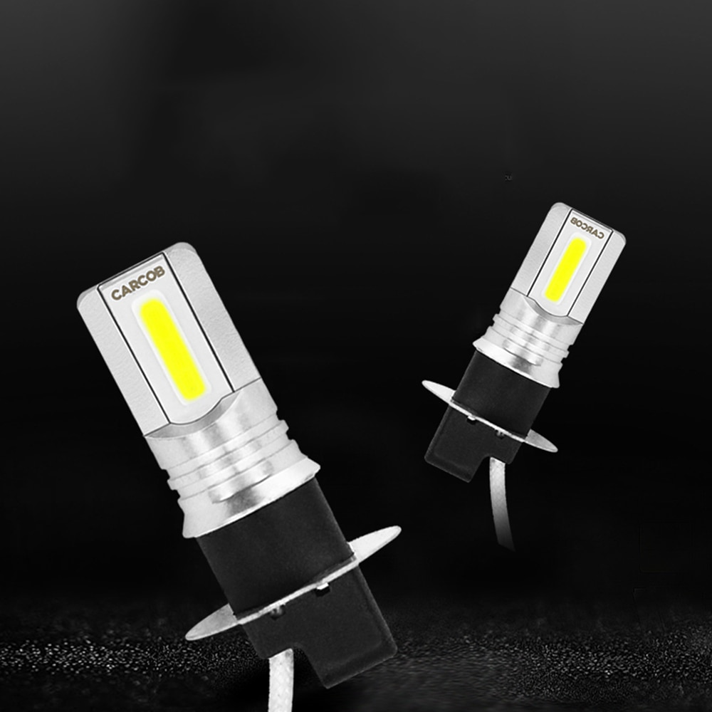 2pcs 6500K Xenon White H3 LED Fog Lamp Headlight Bulb High Power 6500K 100W Double Sided Car Part Good Heat Dissipation Effects