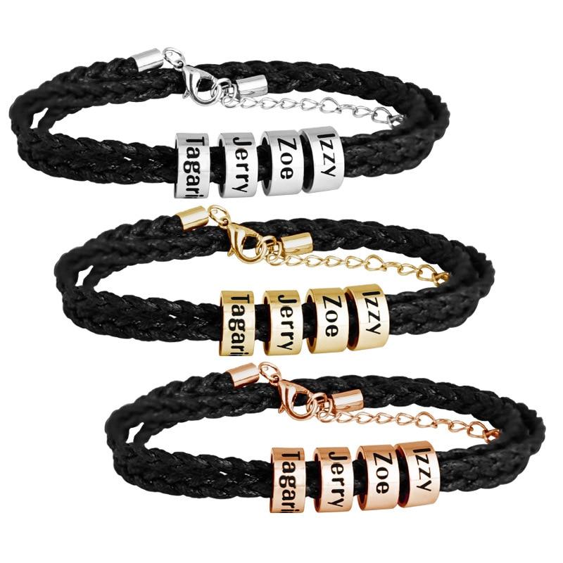 Mylongingcharm personalizado pulseira de corda trançada de aço titanium, nome personalizado pulseira de homem, cores de aço dos grânulos de rosegold do ouro