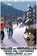 Affiche murale bricolage de voyage   Autocollant de Ski avec Huskies, chien Ski rétro Vintage, affiche de voyage en papier Kraft, autocollant de décoration artistique pour Bar à la maison, cadeau de décoration