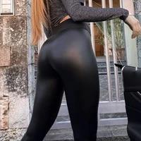 winter leather leggings women sexy night club hip lifting casual black pu pants high waist warm leggings fashion
