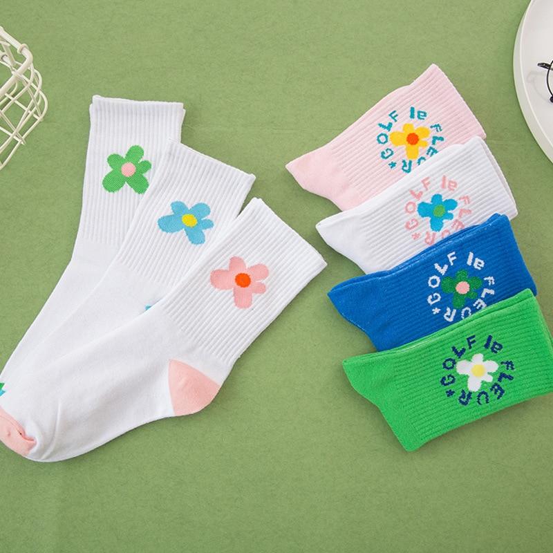 Socks Women  Beauty Flower Socks Golf Long Tube Stockings Women's Classics Knee High Socks Sport Long  Sweat Sock